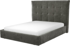 An Image of Lamas King Size Ottoman Storage Bed, Steel Grey Velvet