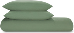 An Image of Tira Linen/Cotton Duvet Cover + 2 Pillowcases, Double, Sage Green