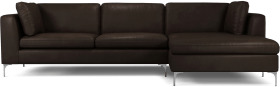 An Image of Monterosso Right Hand Facing Chaise End Sofa, Denver Dark Brown Leather with Chrome Leg