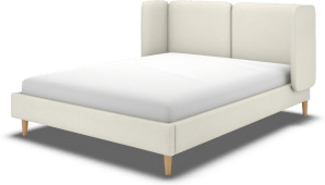 An Image of Ricola Super King Size Bed, Putty Cotton with Oak Legs