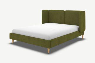An Image of Ricola Super King Size Bed, Nocellara Green Velvet with Oak Legs