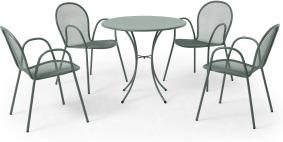 An Image of Emu 4 Seat Round Garden Dining Set, Dark Green Powder-Coated Steel