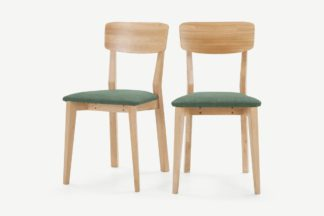 An Image of Jenson Set of 2 Dining Chairs, Bay Green & Oak