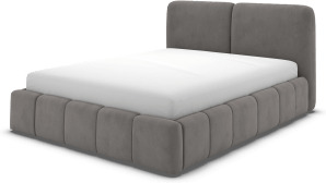 An Image of Maxmo Double Bed with Storage Drawers, Steel Grey Velvet