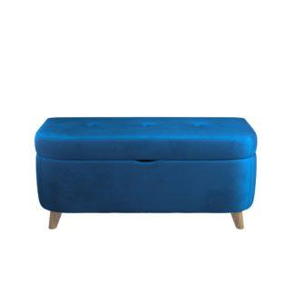 An Image of Halston Velvet Ottoman Blue
