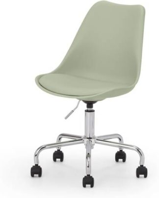 An Image of Deon Office Chair, Sage Green with Chrome Legs