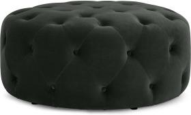 An Image of Hampton Round Pouffe, Large, Anthracite Grey Velvet