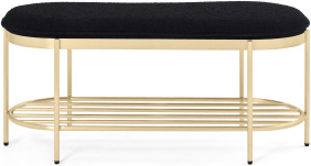An Image of Minti Hallway Bench, Black Boucle & Brass