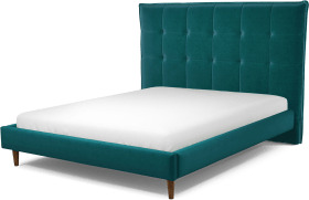 An Image of Lamas King Size Bed, Tuscan Teal Velvet with Walnut Stained Oak Legs