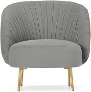 An Image of Ilana Accent Armchair, Light Grey Velvet