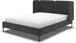 An Image of Ricola Double Bed, Ashen Grey Cotton Velvet with Black Legs