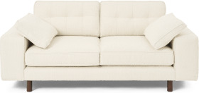 An Image of Content by Terence Conran Tobias 2 Seater Sofa, Ivory White Boucle with Dark Wood Leg