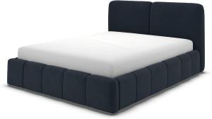 An Image of Maxmo Double Ottoman Storage Bed, Dusk Blue Velvet