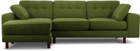 An Image of Content by Terence Conran Tobias, Left Hand facing Chaise End Sofa, Plush Vine Green Velvet, Dark Wood Leg