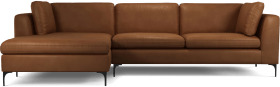 An Image of Monterosso Left Hand Facing Chaise End Sofa, Denver Tan Leather with Black Leg