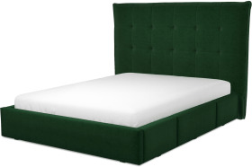 An Image of Lamas King Size Bed with Storage Drawers, Bottle Green Velevt