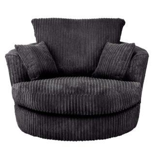 An Image of Blake Jumbo Cord Swivel Chair Black