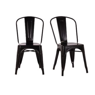 An Image of Daxton Set of 2 Metal Chairs Black
