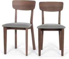 An Image of Jenson Set of 2 Dining Chairs, Mountain Grey & Dark Stain Oak