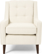 An Image of Content by Terence Conran Tobias Armchair, Ivory White Boucle with Dark Wood Leg