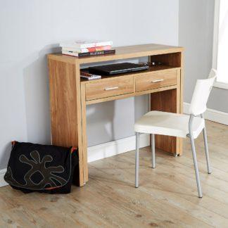 An Image of Regis Oak Hideaway Console Desk Natural