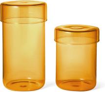 An Image of Huebsch Set of 2 Storage Jars, Amber Glass