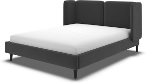 An Image of Ricola Double Bed, Ashen Grey Cotton Velvet with Black Stained Oak Legs