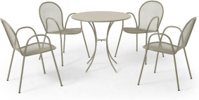 An Image of Emu 4 Seat Round Garden Dining Set, Soft Grey Powder-Coated Steel