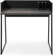 An Image of Arren Compact Desk, Concrete Effect & Black Steel
