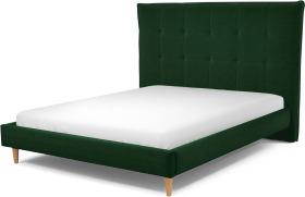 An Image of Lamas King Size Bed, Bottle Green Velvet with Oak Legs