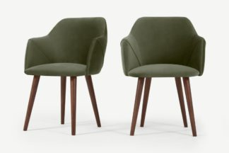 An Image of Lule Set of 2 Carver Dining Chairs, Sycamore Green Velvet & Walnut