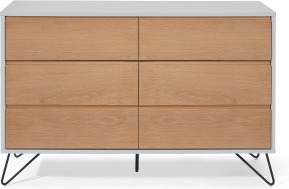 An Image of Cerian Wide Chest of Drawers, Oak and Grey