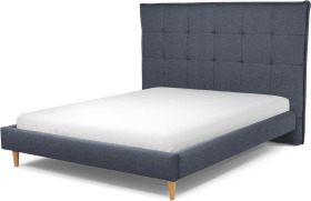An Image of Lamas King Size Bed, Navy Wool with Oak Legs