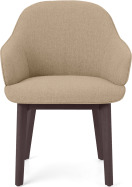 An Image of Erdee Carver Dining Chair, Soft Beige Weave with Dark Stain Legs