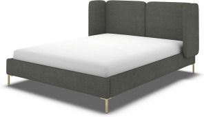 An Image of Ricola Super King Size Bed, Granite Grey Boucle with Brass Legs