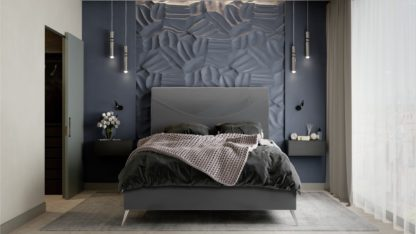 An Image of MiBed Seattle Velvet Kingsize Bed Frame - Black