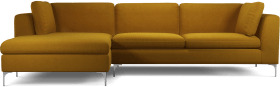 An Image of Monterosso Left Hand Facing Chaise End Sofa, Vintage Mustard Velvet with Chrome Leg