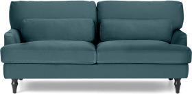 An Image of Tamyra 2 Seater Sofa, Steel Blue Velvet