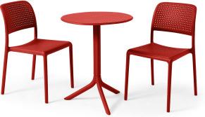 An Image of Nardi 2 Seat Bistro Set, Red Fibreglass & Resin
