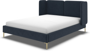 An Image of Ricola Super King Size Bed, Dusk Blue Velvet with Brass Legs