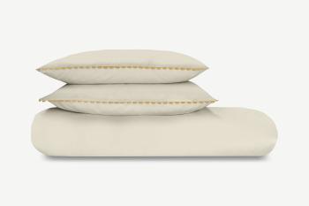 An Image of Kokoda Cotton Trim Duvet Cover + 2 Pillowcases, Double, Natural