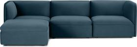 An Image of Torkel Chaise End Corner Sofa, Coastal Blue Velvet