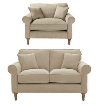 An Image of Habitat William Fabric Chair & 2 Seater Sofa - Natural