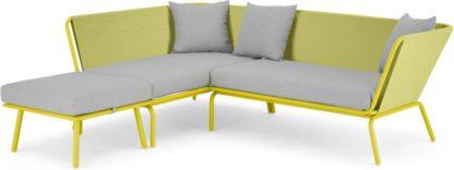 An Image of Tice Garden Corner Sofa, Chartruse and Grey