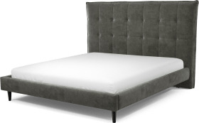 An Image of Lamas Super King Size Bed, Steel Grey Velvet with Black Stained Oak Legs