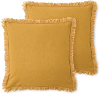 An Image of Sheedy Set of 2 Fringed Cushions, 45 x 45cm, Mustard & Plaster Pink