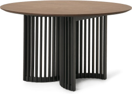 An Image of Zaragoza 4 Seat Round Dining Table, Walnut & Charcoal Black