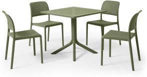 An Image of Nardi 4 Seat Dining Set, Olive Fibreglass & Resin