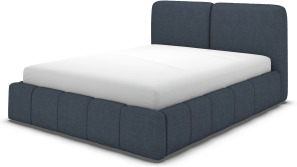 An Image of Maxmo Double Ottoman Storage Bed, Shetland Navy Wool