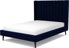 An Image of Cory Double Bed, Prussian Blue Cotton Velvet with Black Stained Oak Legs